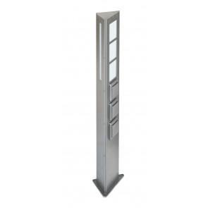 Lichtsäule Nr. 2209 mit 2 x Schalter + 1 x Steckdose, Edelstahl, für 1 x LED max. 20 W, E27