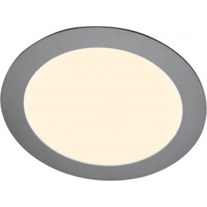 LED Panel, Ø 14,5 cm, dimmbar, warmweiß, metallisch