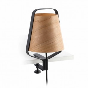 Stood Clip E27 Schwarz + Wood Max 20 W