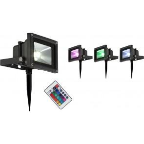 PROJECTEUR LED Strahler Aluminium Schwarz, 1xRGB LED