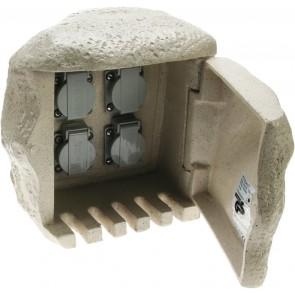 4-fach Steinsteckdose, IP44, Anschluss für Erdkabel
