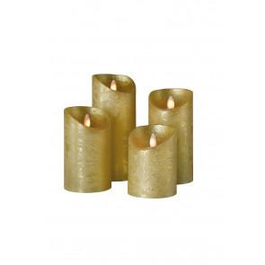 SHINE LED Kerze 4er Set gold Echtwachs mit Timer und Fernbedienung