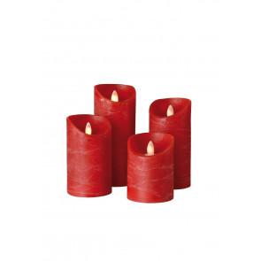 SHINE LED Kerze 4er Set rot Echtwachs mit Timer und Fernbedienung