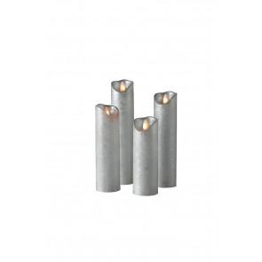 SHINE LED 4erSet silber schmal Echtwachs mit Timer und Fernbedienung