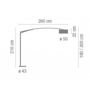 Vibia Balance, Schirm Aluminiumfäden, Tiefe 260 cm, chrom
