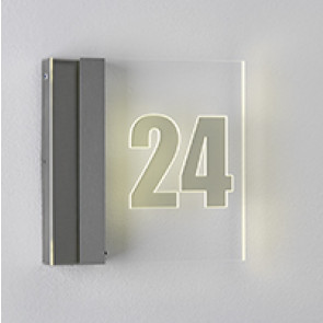 Hausnummernleuchte, LED, IP44, mit Dämmerungsschalter metallisch B-Ware