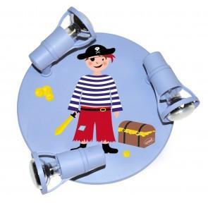 Pirat Round mit Truhe hellblau