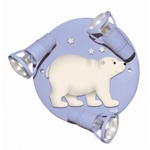 Deckenrondell Eisbär hellblau 3-flammig