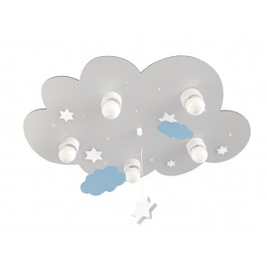 Deckenleuchte Wolke grau mit Wolken und Sternen 5-flammig