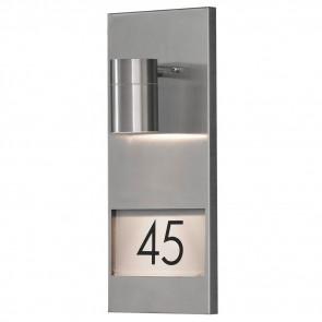 Modena, GU10, IP44, dimmbar, Platz für drei Ziffern, metallisch