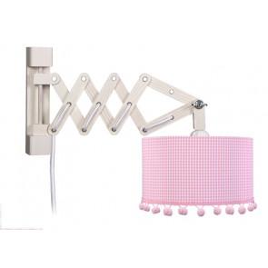 Wandleuchte Schere Pompon rosa mit Schalter 1-flammig