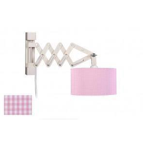 Wandleuchte Schere Vichy rosa mit Schalter 1-flammig