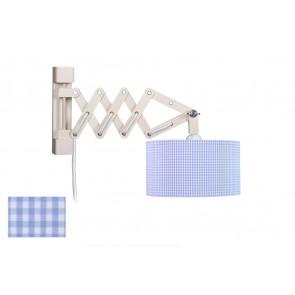 Wandleuchte Schere Vichy hellblau mit Schalter 1-flammig