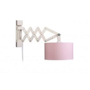 Wandleuchte Schere rosa, innen weiß, mit Schalter 1-flammig