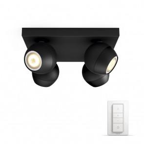 Buckram, LED,  4flg. 1000lm, schwarz, inkl. Dimmschalt