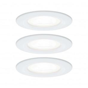 EBL Set Nova rund starr LED IP44 3x6,5W 4000K 230V GU10 51mm weiß matt/Alu Zink