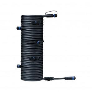 Plug & Shine Kabel, IP68, 15m, schwarz, mit sieben Anschlussbuchsen