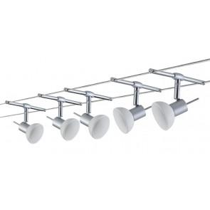 WireSystem Set Sheela, max 5x10W GU5.3 Chrom matt/Opal 230/12V 60VA Metall/Glas