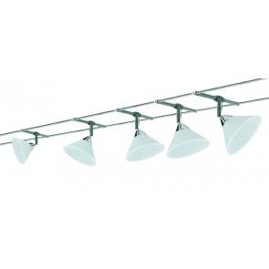 WireSystem Colmar, max 5x10W GU4 Chrom/Satin 230/12V 80VA Metall/Glas