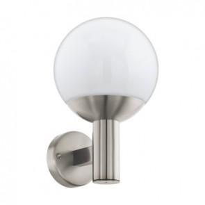 Nisia-C, LED, IP44, Höhe 31,5 cm, metallisch