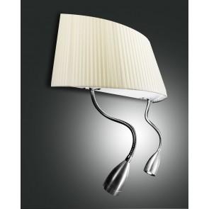 Dorotea LED, nickel satiniert, Plissee Stoff/Polycarbonat, beige/satiniert, 1X40W, 2x1W