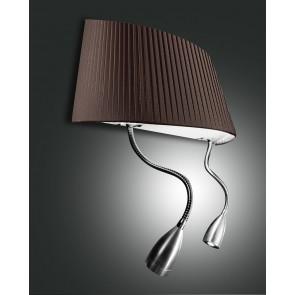 Dorotea LED, nickel satiniert, Plissee Stoff/Polycarbonat, braun/satiniert, 1X40W, 2x1W