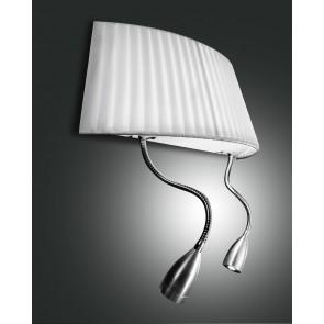 Dorotea LED, nickel satiniert, Plissee Stoff/Polycarbonat, weiß/satiniert, 1X40W, 2x1W