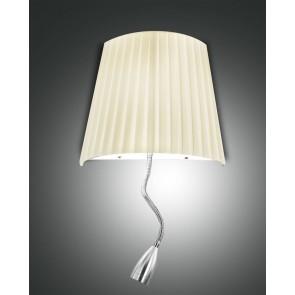 Dorotea LED, nickel satiniert, Plissee Stoff/Polycarbonat, beige/satiniert, 1x40W , 1x1W