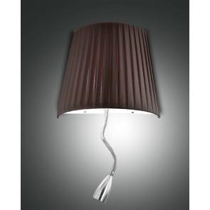 Dorotea LED, nickel satiniert, Plissee Stoff/Polycarbonat, braun/satiniert, 1x40W , 1x1W