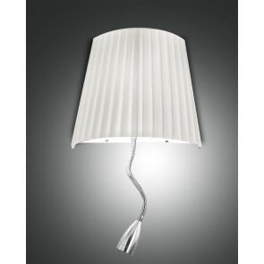 Dorotea LED, nickel satiniert, Plissee Stoff/Polycarbonat, weiß/satiniert, 1x40W , 1x1W