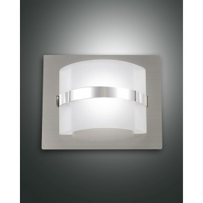 Niside LED, nickel satiniert, Gepresstes Glas/chrom, weiß satiniert/chrom, 450lm, 5W