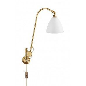 BL6 Wall Lamp, Ø 16, All Brass base, Matt White shade