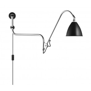 BL10 Wall Lamp, Ø 16, Chrome Base, Black shade