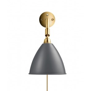 BL7 Wall Lamp, Ø 16, All Brass base, Grey shade