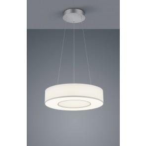 LOMO PL, mattnickel eloxiert - chrom, Schirm Chintz weiß, LED, 30 W, 2800 K, 3100 lm