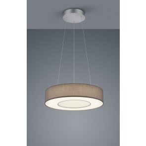 LOMO PL, mattnickel eloxiert - chrom, Schirm Chintz mocca, LED, 30 W, 2800 K, 3100 lm