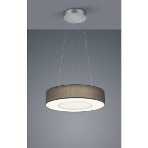 LOMO PL, mattnickel eloxiert - chrom, Schirm Chintz anthrazit, LED, 30 W, 2800 K, 3100 lm