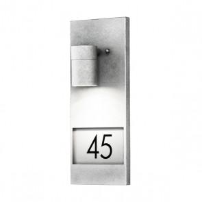 Konstsmide Modena Wandleuchte, Platz für drei Zahlen, galvanisierter Stahl