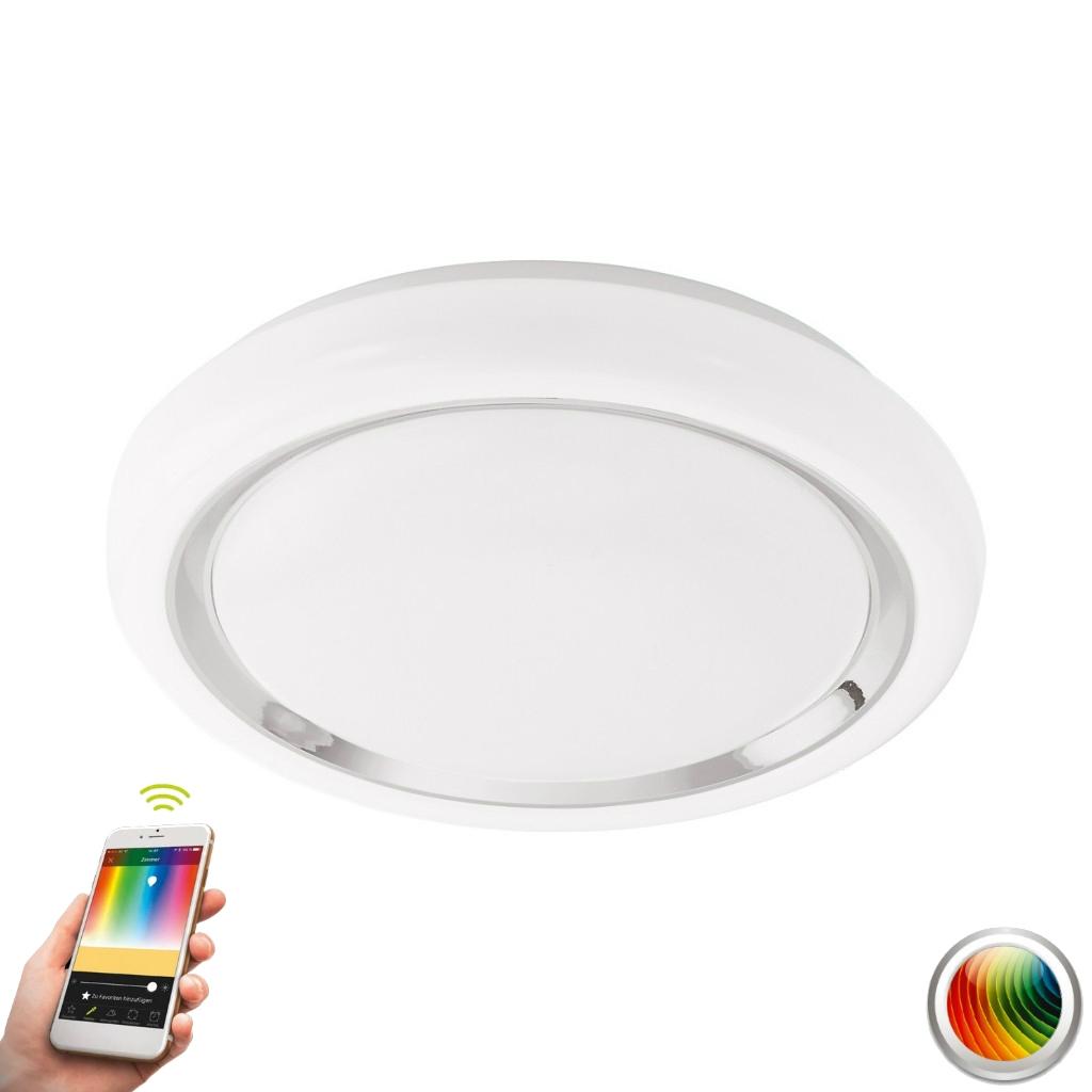 EGLO LED Deckenleuchte Capasso-C, Chrom/weiß, Kunststoff/Stahl, 96686