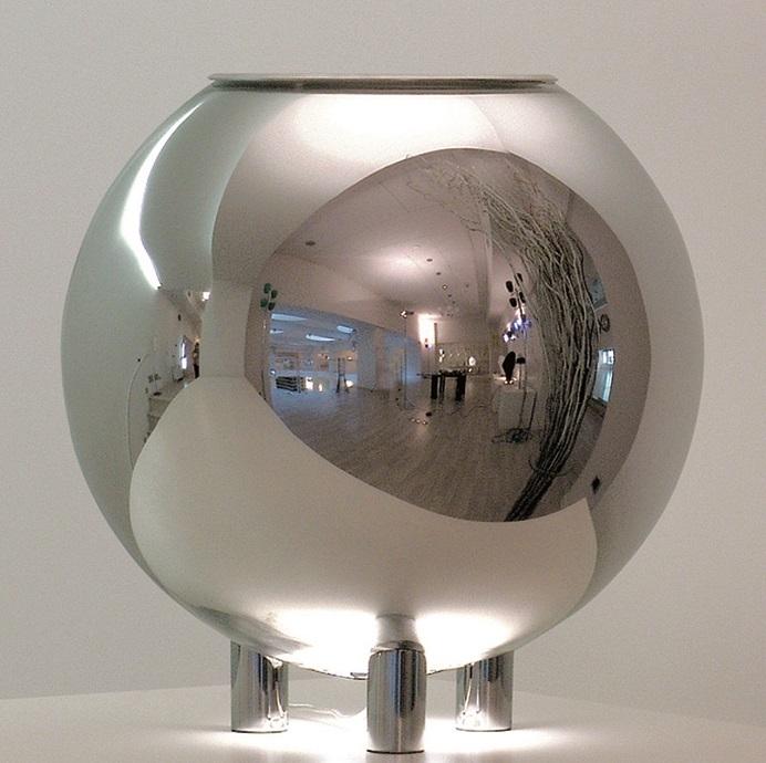 FontanaArte Tisch Kugelleuchte Globo Di Luce, Chrom/metallisch/silber, Aluminium/Glas/Metall, 3667/1   Lampen > Tischleuchten > Kugelleuchten