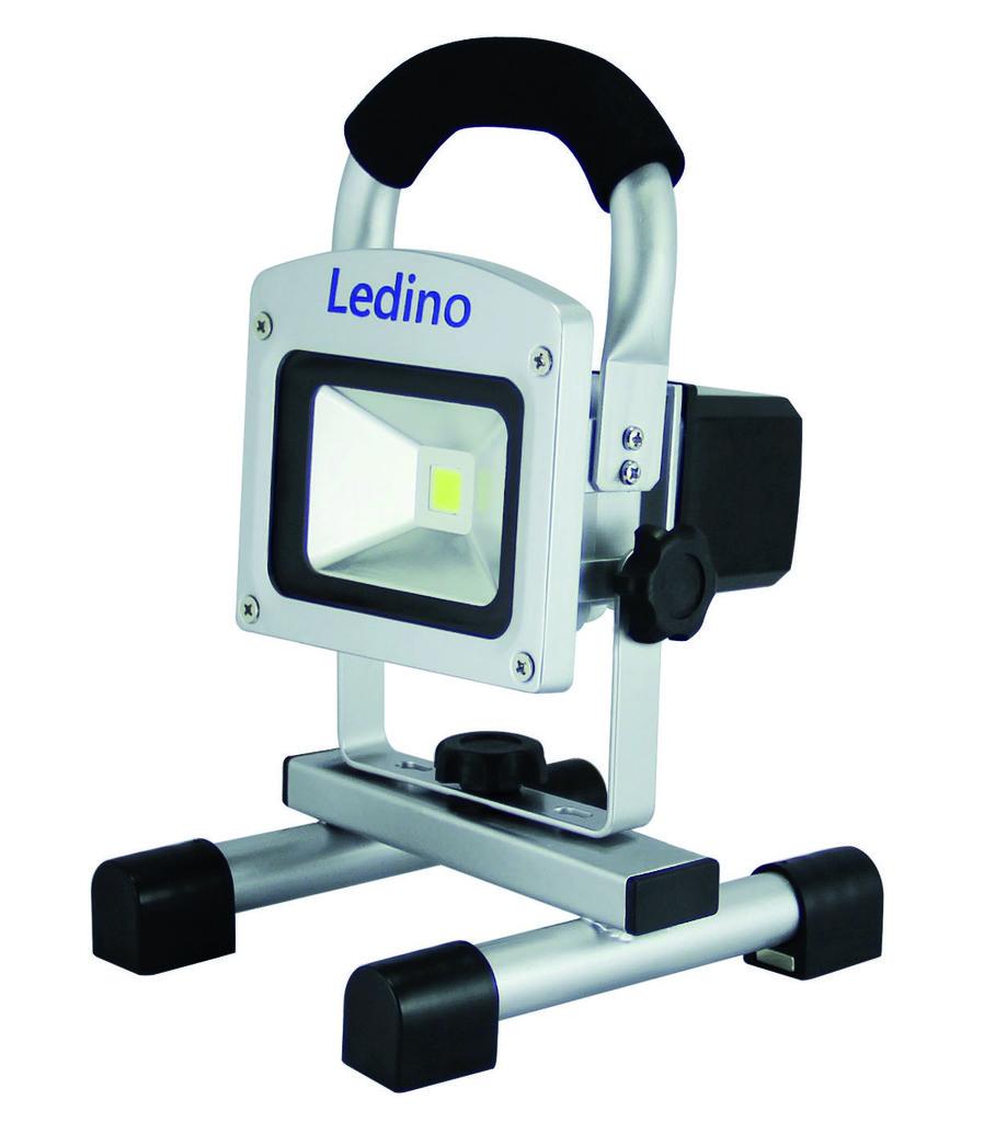 Ledino LED Außenstrahler Ledino LED-Akkustrahler 10W Li-Ion Akku 22Ah Dimm, Silber, LED-FLAH1002D