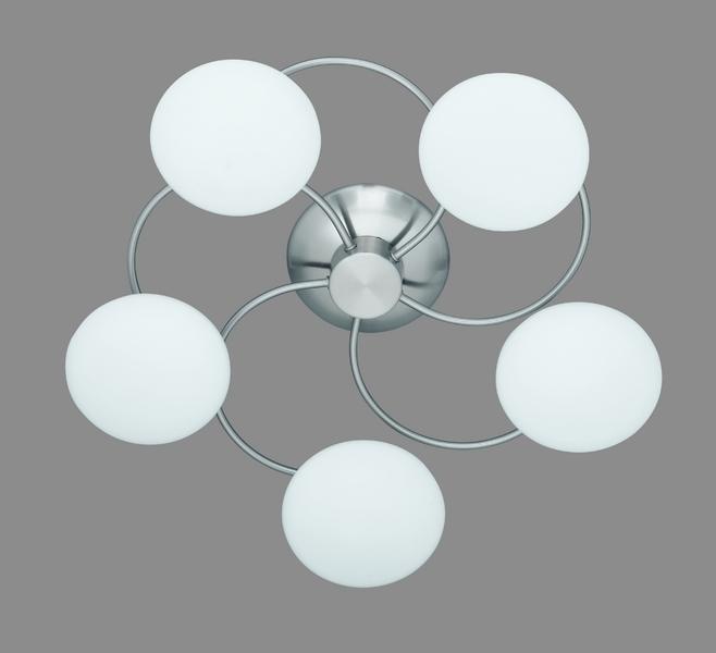 Trio Halogenstrahler Voody 5, Metallisch,weiß, Glas/Metall/Nickel, 6380051-07