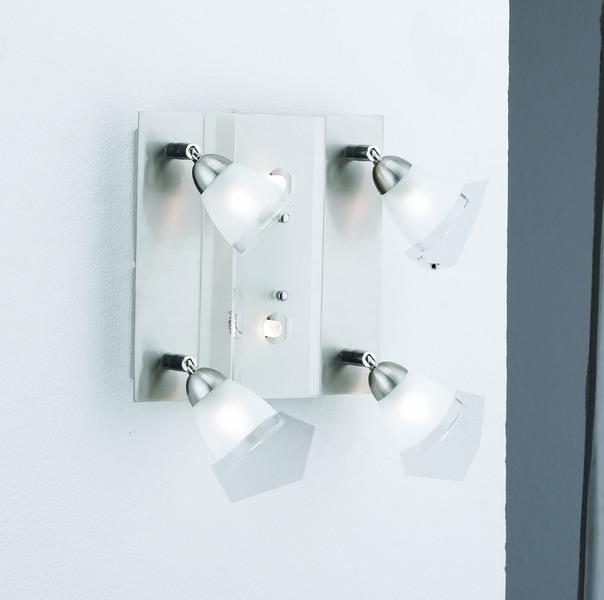 LeuchtenDirekt Halogenstrahler Karsten 4, Metallisch,weiß, Glas/Metall/Stahl, 11661-55