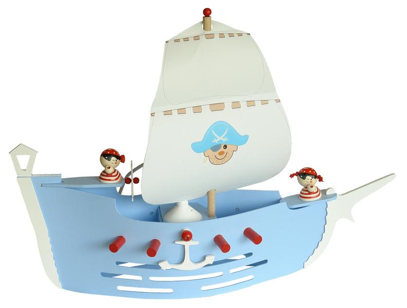 Elobra Piratenschiff hellblau, Länge 60 cm Innenleuchte, 125786