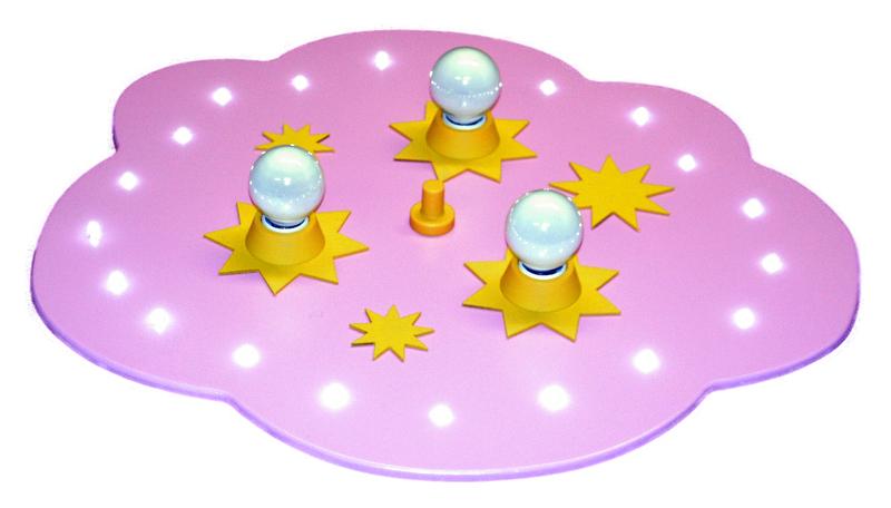 Elobra LED Deckenleuchte Sternenwolke Rosa LED Gelb 320, Rosa, Holz