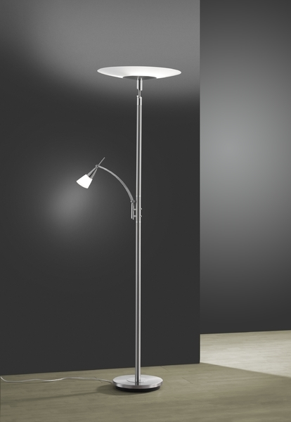Helestra Deckenfluter Cona, Chrom/Weiß, Glas/Metall, 27/1133.27/4950