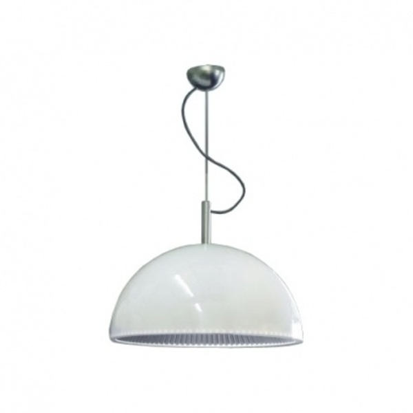 Grok by LEDS-C4 Pendelleuchte Umbrella, Silber/weiß, Glas/Stahl/Stoff, 00-2726-AQ-78