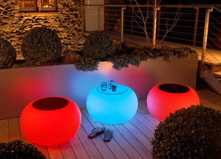 moree LED Außen Dekoleuchte Bubble Outdoor LED Mit Filzauflage Grün, Grün/weiß, Kunststoff/Stoff, 15-02-01-LED-grün | Lampen > Dekolampen | Grün