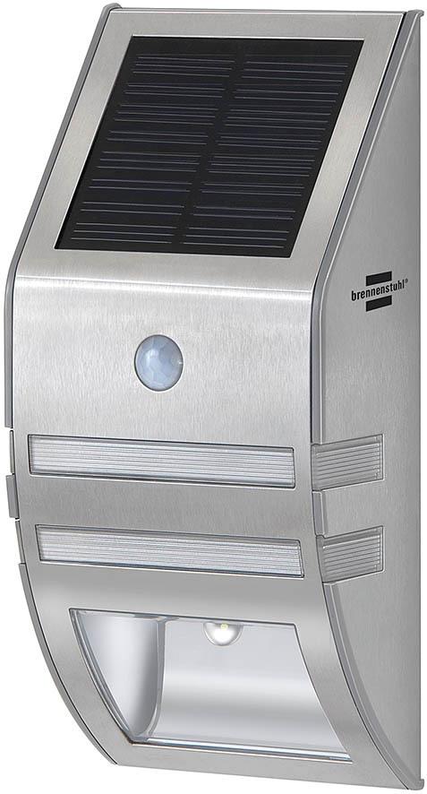 Brennenstuhl LED Solar Wandleuchte Solar SOL, Metallisch, Edelstahl, Bewegungsmelder, 1170780