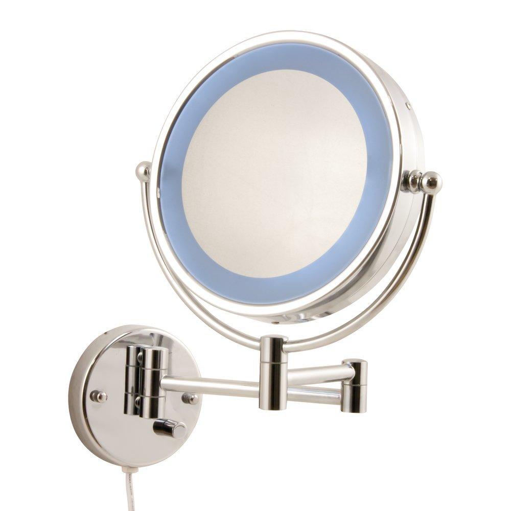 Heitronic LED Leuchtspiegel LED KOSMETIKSPIEGEL JANUS 2, Blau,chrom, Glas/Metall, 31130